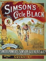 Simson's Cycle Black Metal Wall Sign (4 sizes)