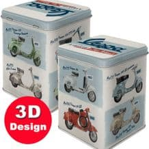 Tea Caddy - Vespa Scooters -  Hinged Embossed Storage Tin