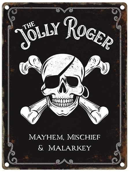 The Jolly Roger Pub Sign Metal Wall Sign | Home Bar Signs | Vintage Pub Sign