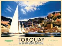 Torquay Railway Poster (Landscape) Metal Wall Sign (3 sizes)