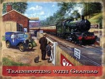 Trainspotting with Grandad Metal Wall Sign (3 sizes)