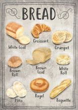 Types Of Bread Metal Wall Sign (4 sizes)