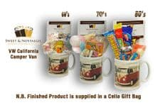 VW California Camper Van Mug with/without a selection of 1960's, 70's or 1980's Retro Sweets.
