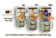 VW  Camper Van Logo Mug with/without a selection of 1960's, 70's or 1980's Retro Sweets