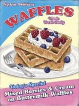 Waffles Retro Diner Metal Wall Sign (4 sizes)