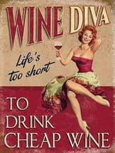 Wine Diva Metal Wall Sign (4 sizes)