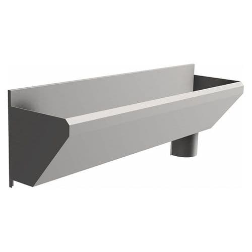 2 User 1600mm H&L Surgeons Scrub Trough Sink - HBN 00-10 & HTM 64 - Splashback, Right Hand Waste