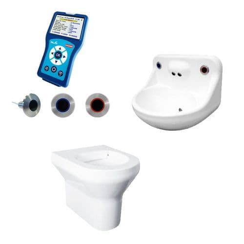 DVS Anti-Ligature High Risk Back-to-Wall Toilet & Basin Pack - Programmable Wave-On Controls