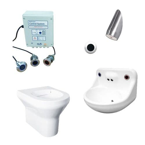 DVS Anti-Ligature High Risk Back-to-Wall Toilet, Basin & Shower Pack - Wave-On Controls