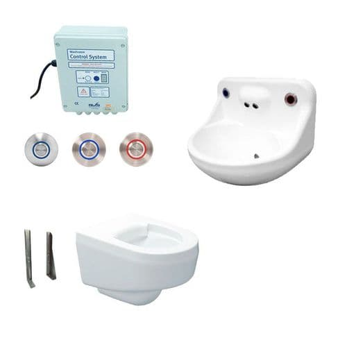 DVS Anti-Ligature High Risk Wall-Hung Toilet & Basin Pack - Tactile Switch Controls