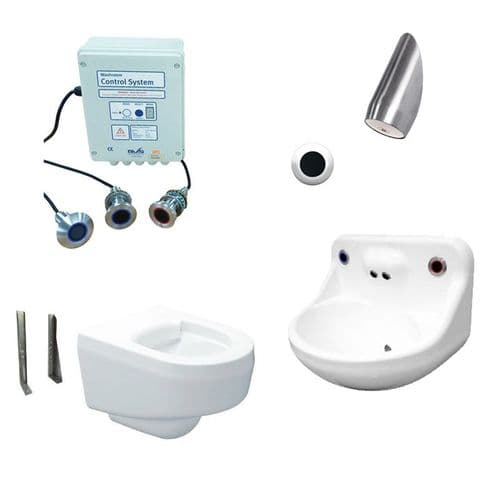 DVS Anti-Ligature High Risk Wall-Hung Toilet, Basin & Shower Pack - Wave-On Controls