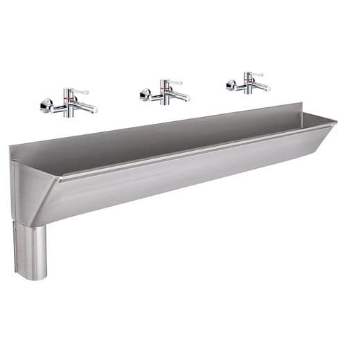 Franke G22031L 2400mm Stainless Steel Surgeons Scrub-Up Trough with Left-Hand Outlet