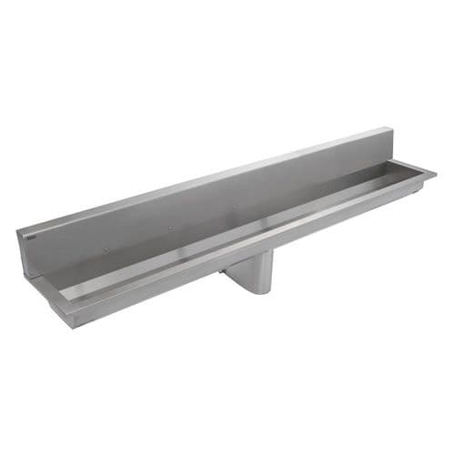 Franke Saturn SANX240SB 2400mm Wall-Mounted Stainless Steel Wash Trough with Splashback