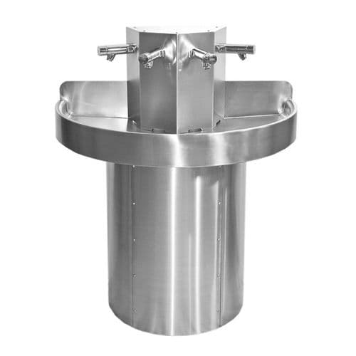 Franke Saturn SANX400 4-Person Semi-Circular Stainless Steel Wash Trough with Push Time-Flow Taps