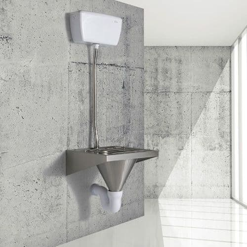 H&L Wall-Mounted Single Sluice Sink / Slop Hopper with Exposed Cistern
