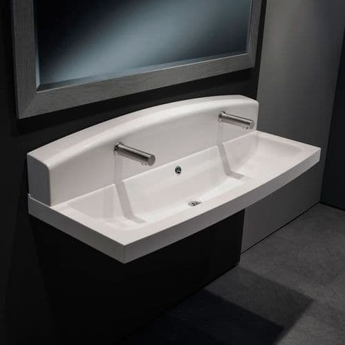 High-Back Composite Wash Troughs for Wall-Mounted Taps
