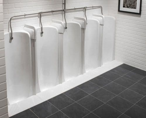 Top Inlet Niagara 2 to 5 Station Fused Run Traditional Slab Urinals