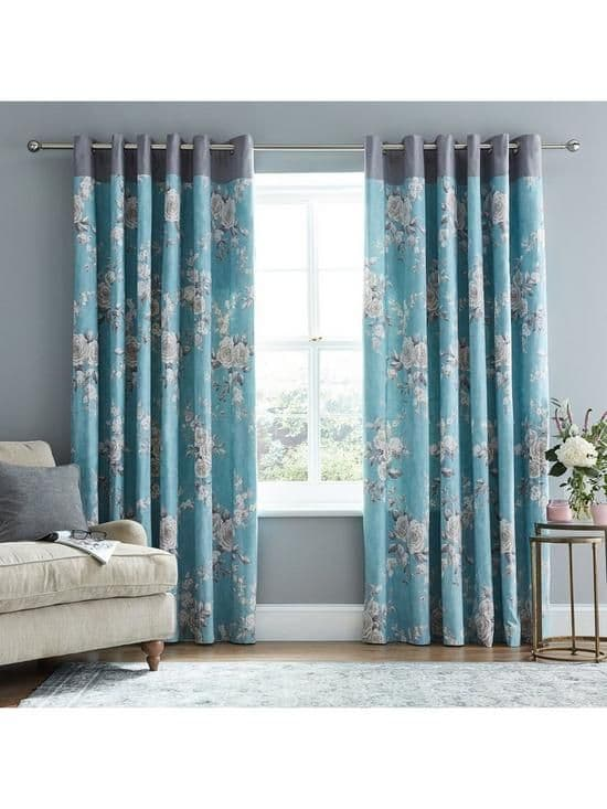 Canterbury Lined Eyelet Curtains Teal