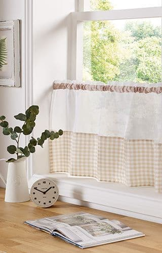 Gingham Voile Beige Cafe Curtains