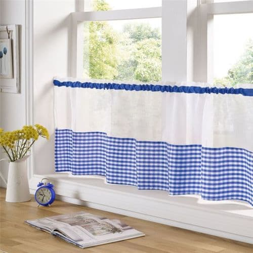 Gingham Voile Blue Cafe Curtains