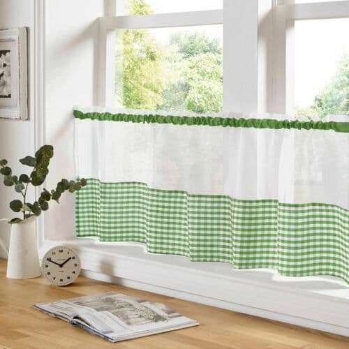 Gingham Voile Green Cafe Curtain