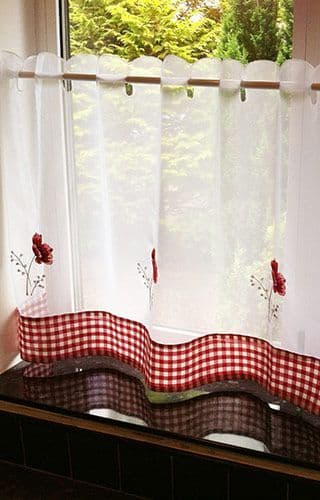 Poppies Voile Cafe Curtain Panel
