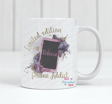 Personalised Limited Edition Phone Addict Mug Pink Design