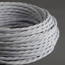 CHALK WHITE Braided Fabric Lighting Cable