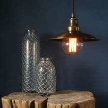 Small Santiago in Antique Brass wth Blue Notte Fabric Lighting Cable