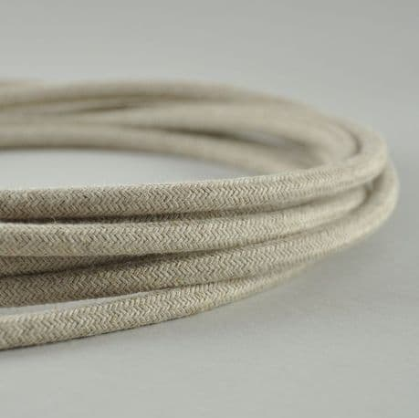 Fabric Lighting Wire Round Vintage in  Hessian