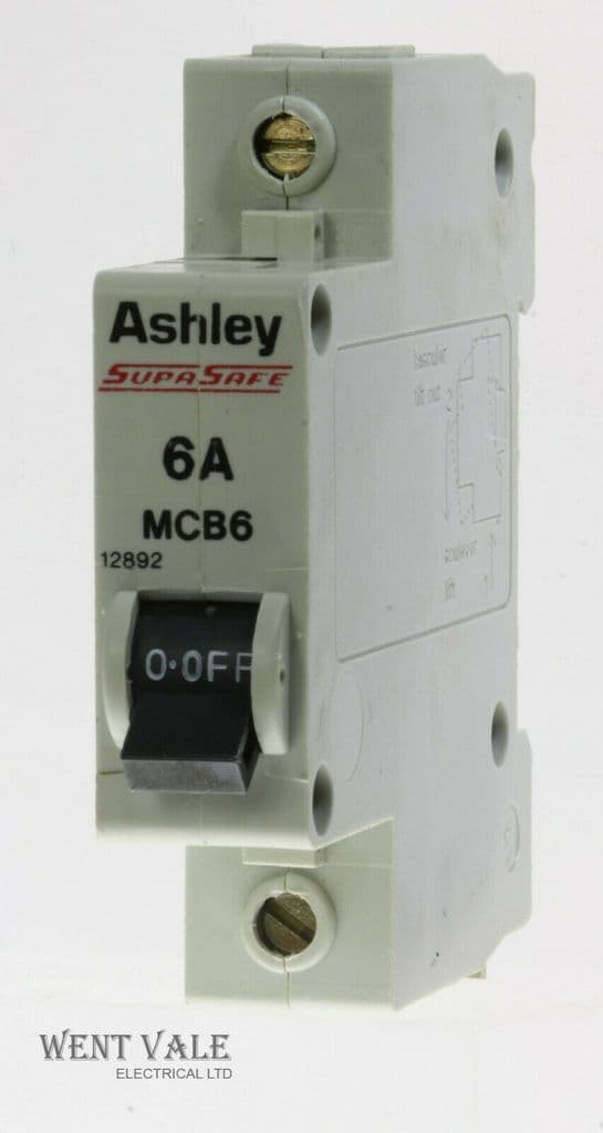 Ashley SupaSafe - MCB6/12892 - 6a Type 1 Single Pole MCB Used