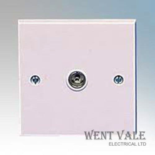 British General 960-01 White Moulded Single Non-Isolated Co-Axial Socket New