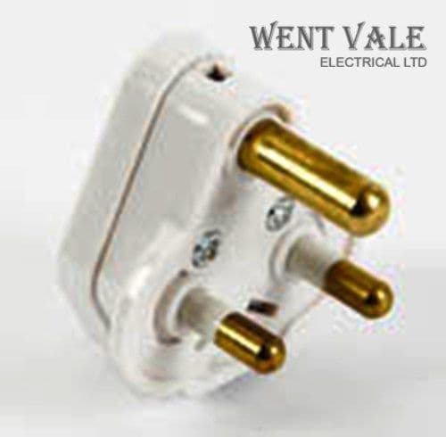 British General PT5W-01 - White Moulded - 5a Round Pin Sleeved Plug New