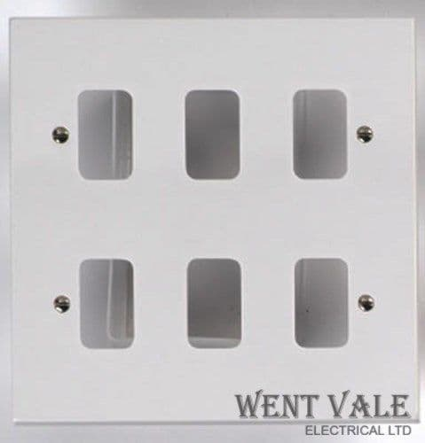 Deta Gridswitch - G2605 - White Moulded 6 Module Grid Switch Front Plate New