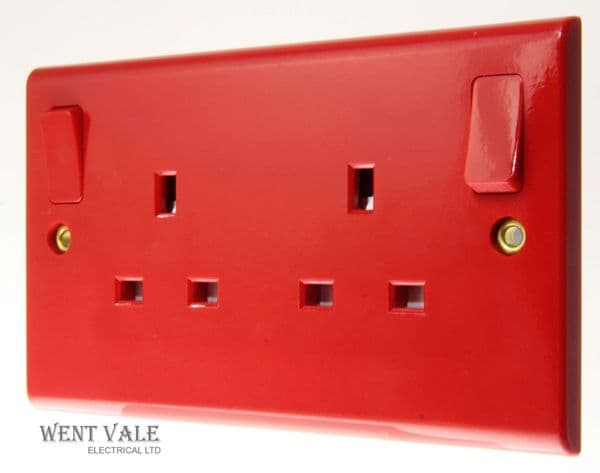 Deta Slimline - S1295  - Red 13a Twin Switched Socket For Essential Supply New