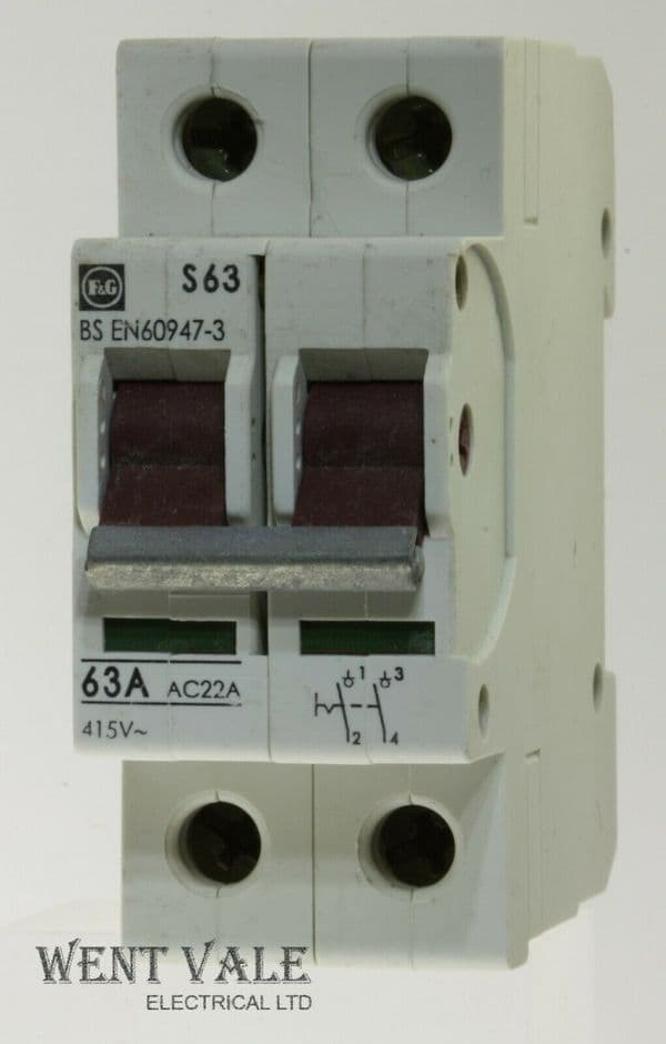 F & G/Moeller - S63 - 63a AC22A Double Pole Switch Disconnector Used