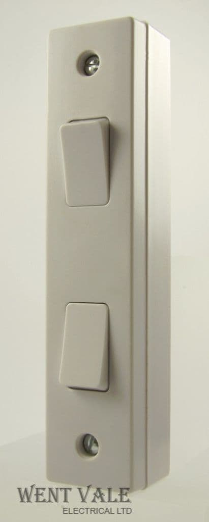 GET Exclusive Moulded - GSWA2G2W - White 10ax 2 Gang 2 Way Architrave Switch With Box
