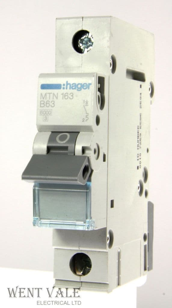 Hager - MTN163 - 63a Type B Single Pole MCB Unused