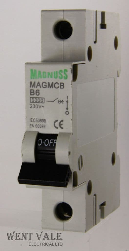 Magnuss MAGMCB-B6  -  6a Type B Single Pole MCB Used