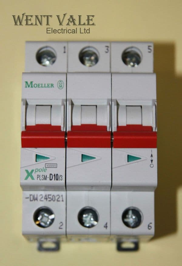 Moeller X Pole - PLSM-D10/3-DW - 10a Type D Triple Pole MCB New In Box