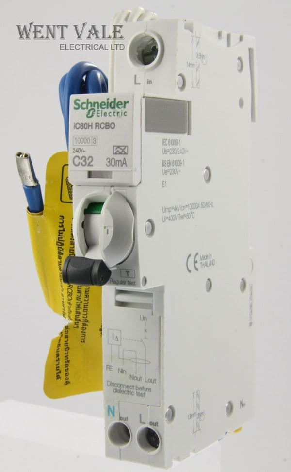 Schneider - Acti 9 - A9D11832 - IC60HC32R30 - 32a 30mA Type C RCBO Used