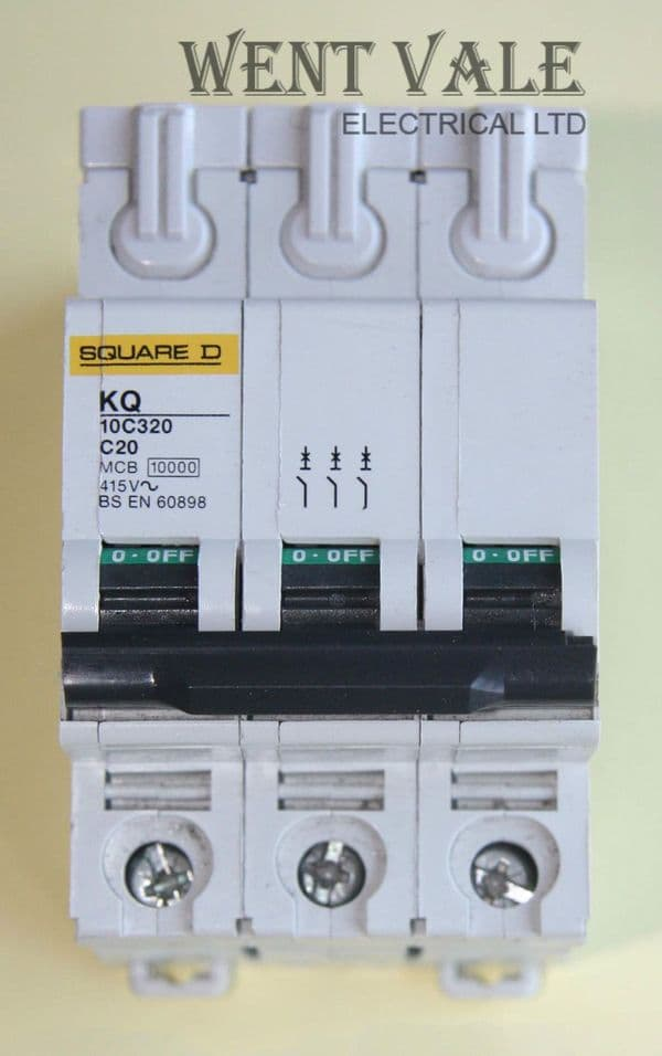 Square D - Loadcentre - KQ10C320 - 20a Type C Triple Pole MCB Used