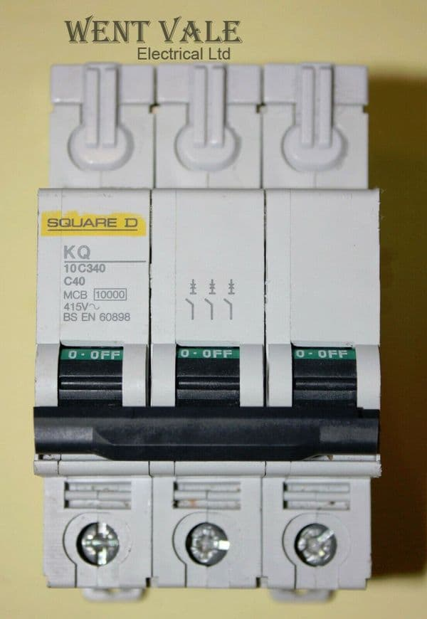 Square D - Loadcentre - KQ10C340 - 40a Type C Triple Pole MCB Used