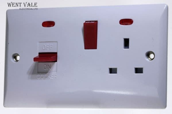 Super Switch - Silk Range - SW26 - 45a Cooker Control + 13a Socket and Neons