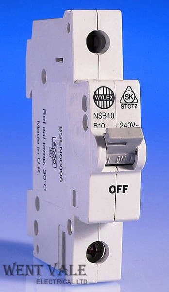 Wylex - NH NSB Range - NSB10-B - 10a Type B Single Pole MCB Used (CS)
